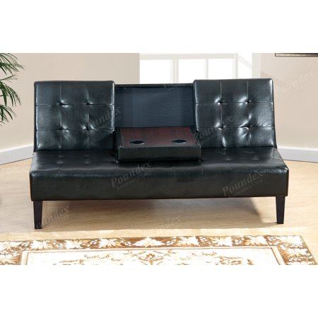 Modern Black Faux Leather Adjustable Sofa Bed Futon Couch