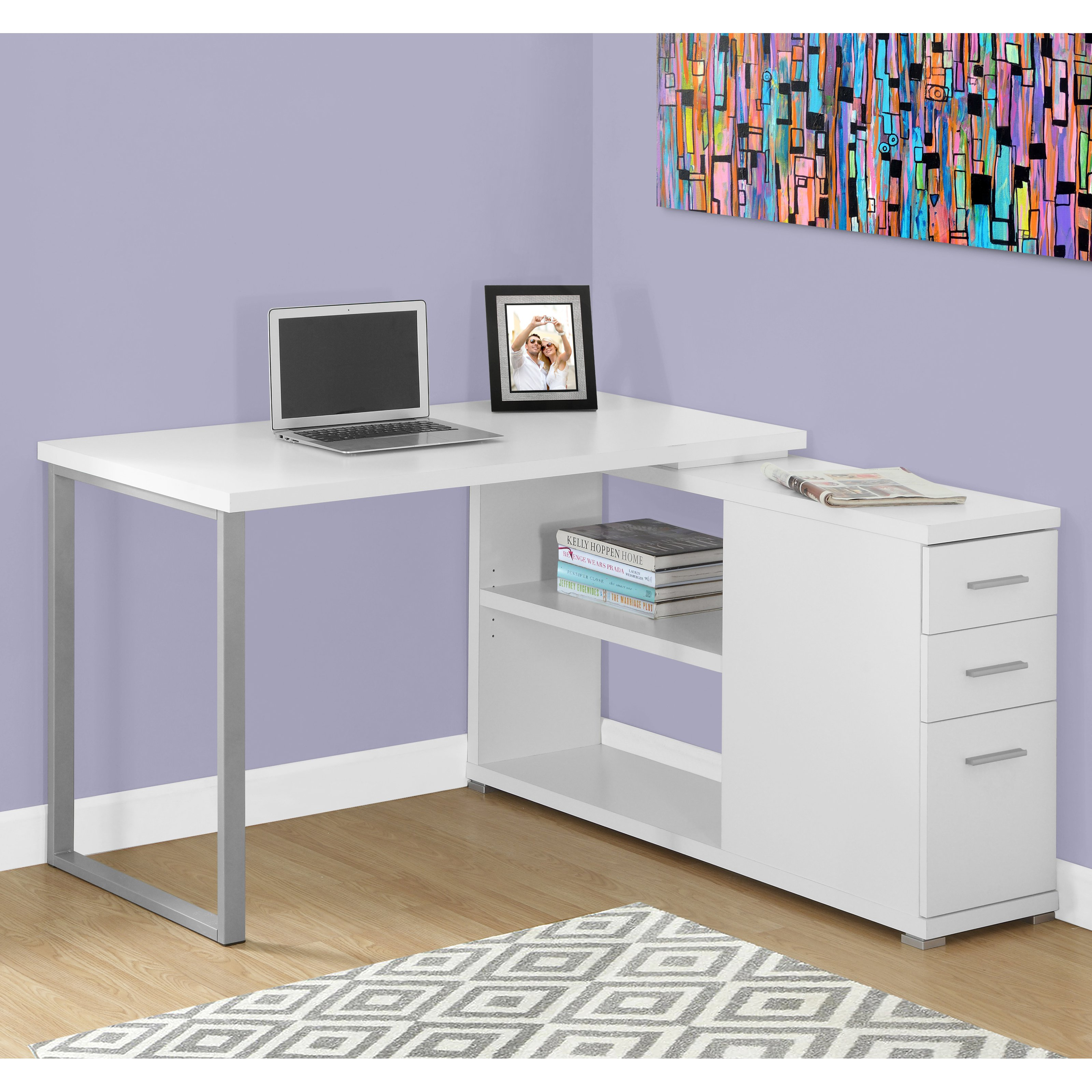 MONARCH - COMPUTER DESK - WHITE LEFT OR RIGHT FACING CORNER