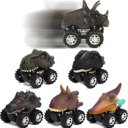 Angusiasm Dinosaur Toys Pull Back Dinosaur Cars 6 Pack Mini Dino Cars with Big Tire Car Toys for 2-9 Year Old Boys Girls Great Toys Gift Dinosaur Party Favors for Kids 6PC