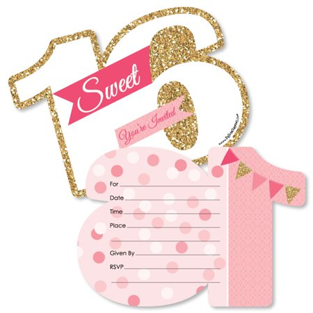 Sweet 16 - 16th Birthday - Shaped Fill-In Invitations - 16th Birthday Party Invitation Cards with Envelopes - Set of 12 for $<!---->