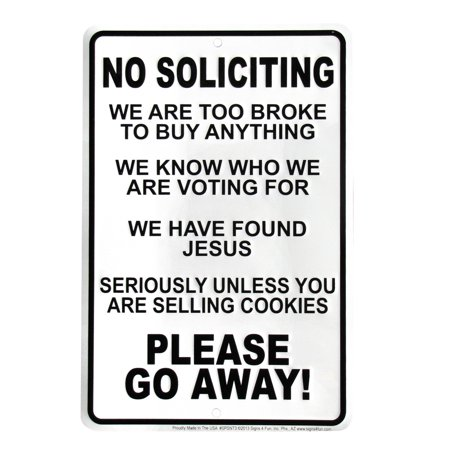 No Soliciting Found Jesus We Are Broke GO AWAY Yard Fence Home Door Decor Sign