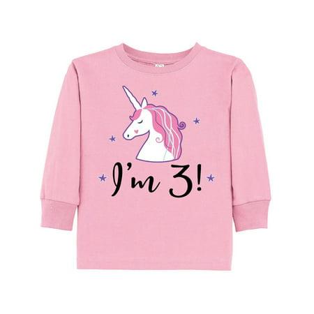 3rd Birthday Girls Cute Unicorn Toddler Long Sleeve T Shirt