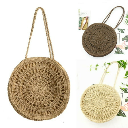 New Women Wicker Handbag Bags Totes Beach Bag Straw Woven Summer Rattan Basket Wicker Woven Handbag