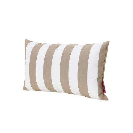Esme Outdoor Water Resistant Fabric Striped Rectangular Throw Pillow, Brown Brown Striped Pillow