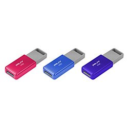 PNY USB 2.0 Flash Drives, 16GB, Assorted, Pack Of 3,