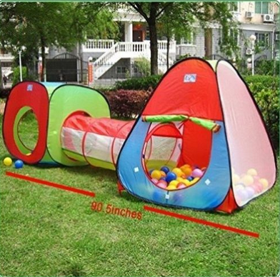 3 in 1 Children Play Tent House Set One Square Cubby-One Triangle Cubby-One Tunnel for Kids Backyard Toys Indoor Outdoor Safty with Zipper Storage Bag+100pcs Ocean Ball