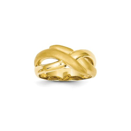 Solid 14k Yellow Gold Polished & Satin Swirl Cross-over Dome Ring (11mm) - Size 4