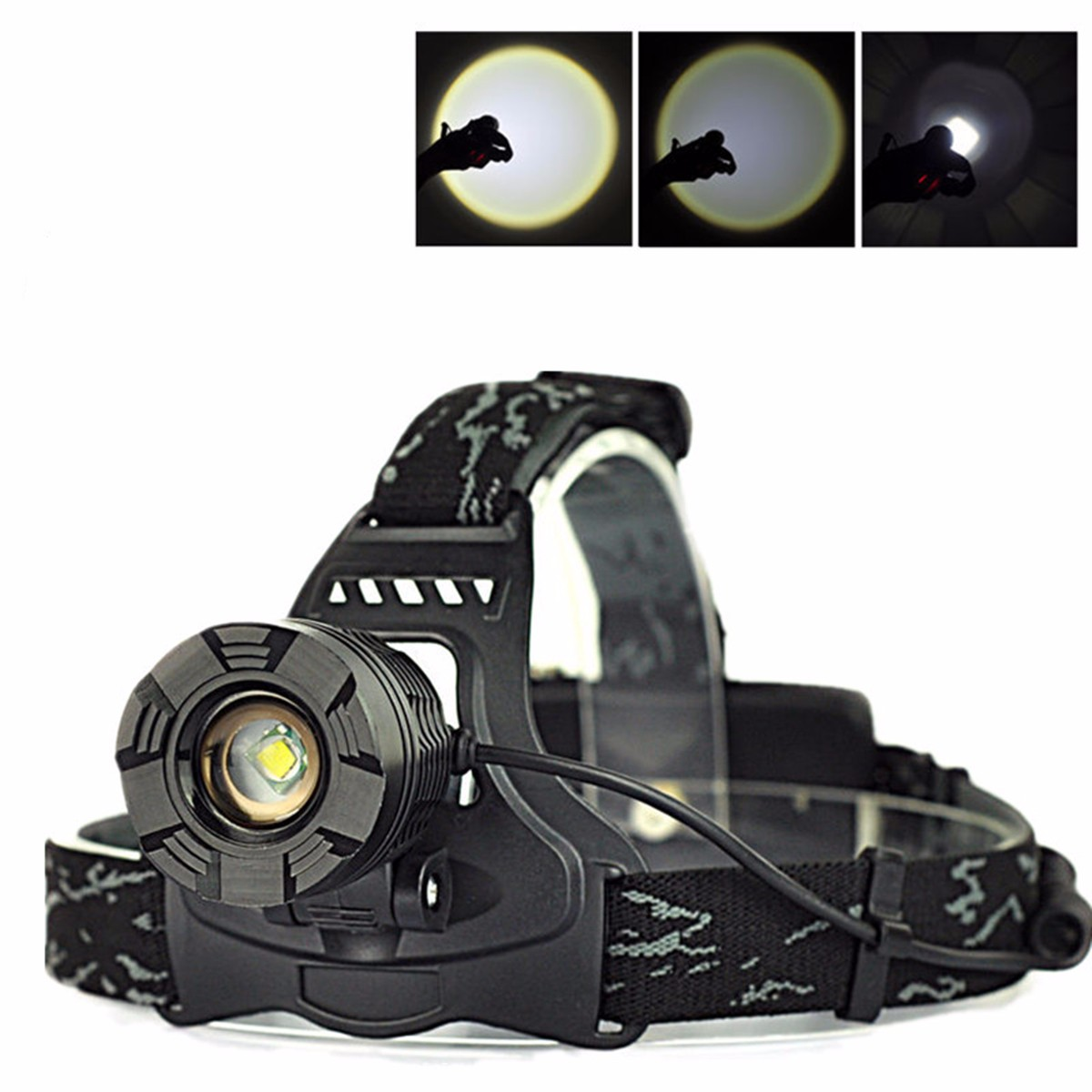 Elfeland 3500 Lumen T6 LED Headlights &amp Zoomble Rechargeable Headlight Headlamp Flashlight Torch Waterproof 3 Modes For Hiking Camping Riding Fishing