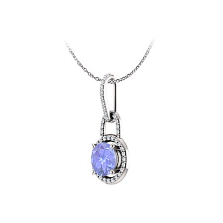 Tanzanite CZ Round Pendant 14K White Gold Free Chain - image 4 of 7