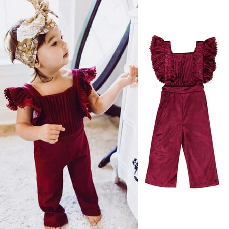 Fashion Toddler Kids Girls Velvet Bib Pants Backless Jumpsuit Outfit Clothes](Jumpsuit Toddler)