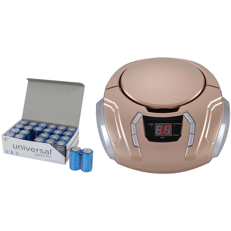 SYLVANIA SRCD261-B-CHAMPAGNE Portable CD Player with AM/FM Radio (Champagne) & UPG C 24 PK