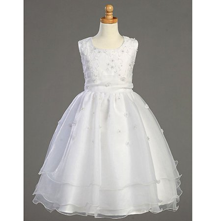 Girls White Embroidered Organza Pearl First Communion Dress 7-14 for $<!---->
