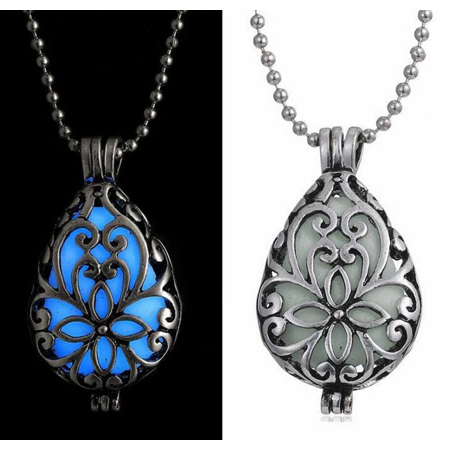 Glow in The Dark Filigree Locket Necklace Silver