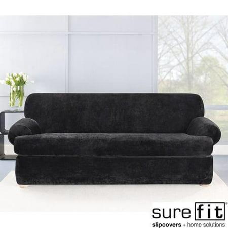 Sure Fit Stretch Plush Black T Cushion Sofa Slipcover