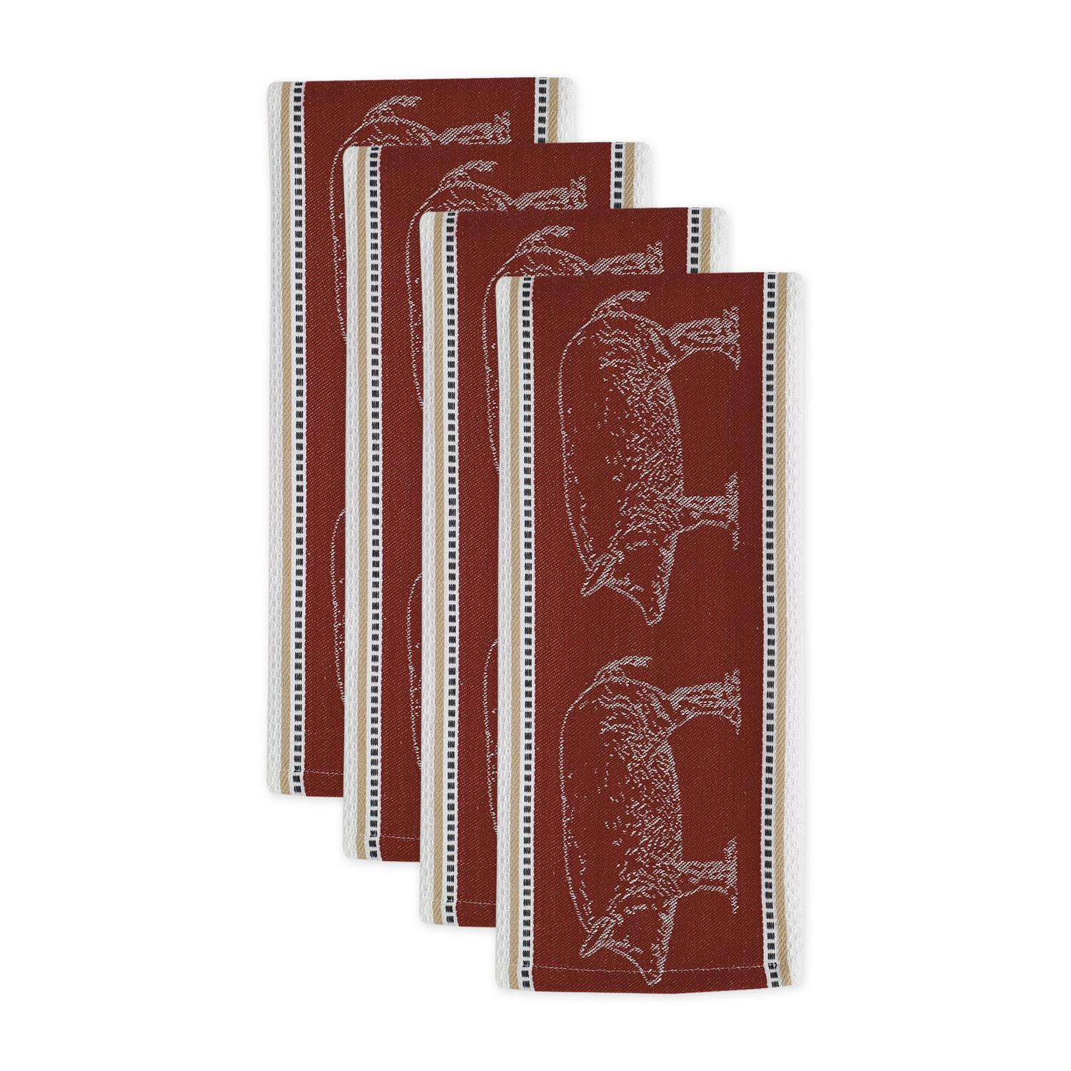 "Set of 4 Red and White Rectangular Pig Jacquard Dishtowels 28"" x 18"""