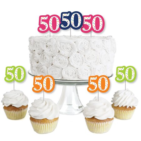 50th Birthday - Cheerful Happy Birthday - Dessert Cupcake Toppers - Colorful Fiftieth Birthday Party Clear Treat Picks - Set of 24](50th Birthday Cake Ideas)