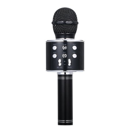 BT Wireless Microphone Speaker Handheld Karaoke Mic Portable Music Player Singing Recorder KTV Microphones (As She Stands There Singing For Money)