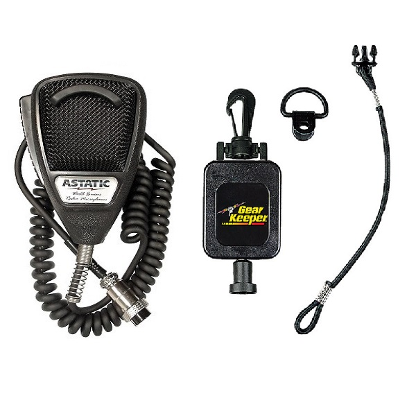 Astatic 636L Noise Cancelling CB Radio 4-pin Microphone and RT4-4112 Gear Keeper