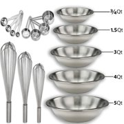 "Stainless steel Mixing Bowls Set and Baking Utensils Kit Includes: ¾, 1.5, 3, 4, and 5 Qt. Mixing Bowl + 10"", 12"" and 14"" Hand Whisk + 8 Piece Measurement Cups and Spoons Set. …"