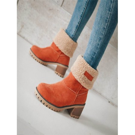 c4fea17f3a55 Women s Ladies Winter Shoes Flock Warm Boots Martin Snow Boots Short Bootie.  Average rating 0out of5stars
