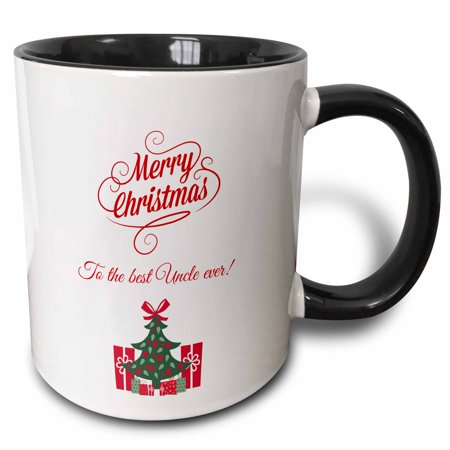 - 3dRose Merry Christmas to the best uncle ever - Two Tone Black Mug, 11-ounce
