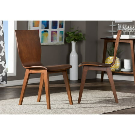 Baxton Studio Elsa Mid-Century Modern Scandinavian Style Dark Walnut Bent  Wood Dining Chair, Set of 2