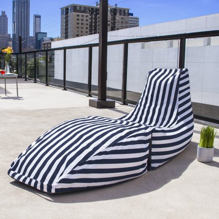 Jaxx Prado Outdoor Striped Bean Bag Chaise Lounge Chair