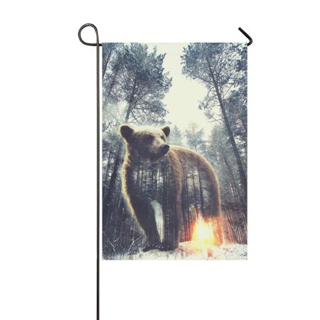 MYPOP Cool Bear in Pine Forest Long Garden Flag House Banner 12 x 18 inch