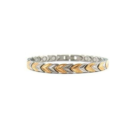 Two Tone Arrow Head Stainless Steel Magnetic Bracelet With Powerful Magnets, Magnetic Bracelet For Women