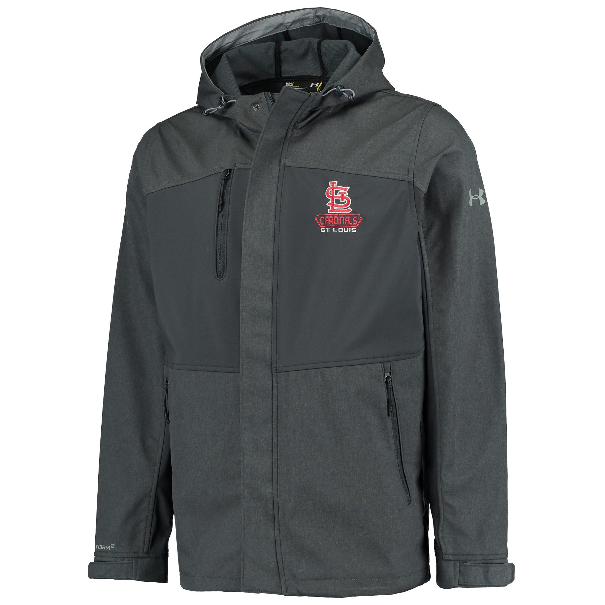 St. Louis Cardinals Under Armour Mix Softshell Performance Hooded Jacket - Charcoal