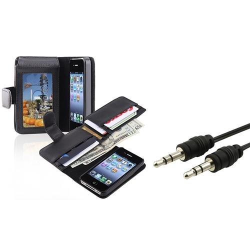 Insten Wallet w/Card Holder Leather Pouch Case Cover+Audio Cable For iPhone 4 4G 4S