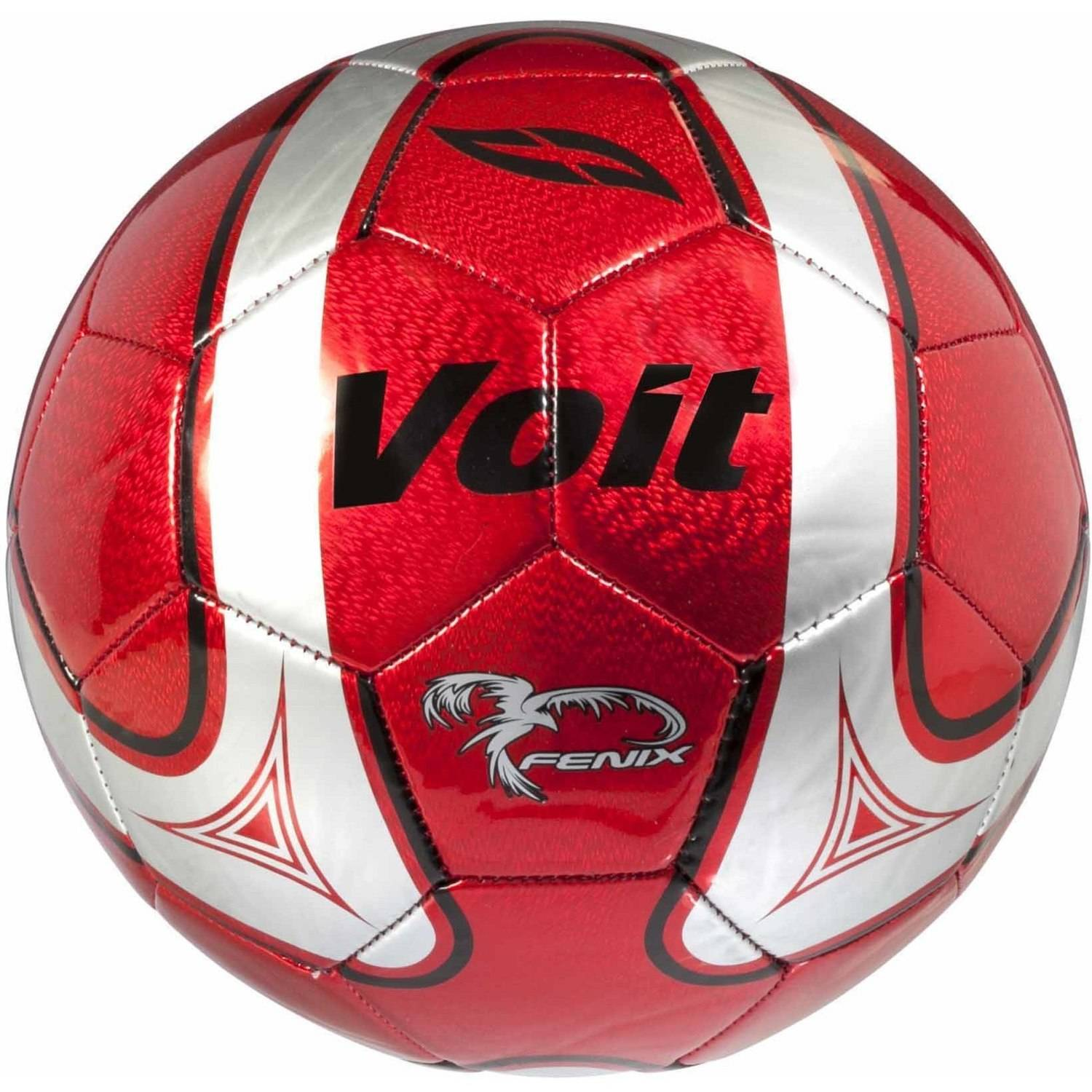 Generic Voit Size 5 Fenix Soccer Ball, Deflated, Red and Silver