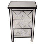 Heather Ann Creations W192087-BLK Emmy 3-Drawer Mirrored Accent Cabinet - Black