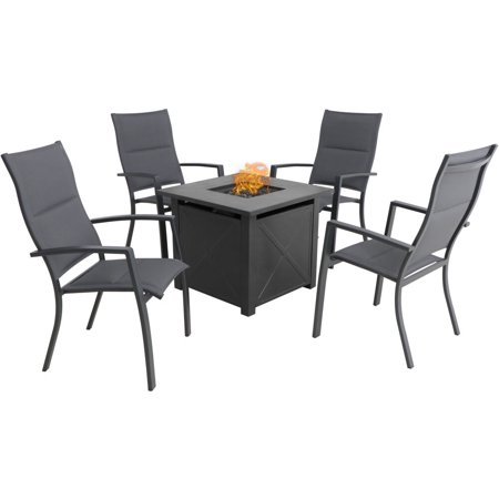 Hanover Naples 5-Piece Fire Pit Chat Set featuring 4 Padded Sling Chairs and 40,000 BTU Tile-Top Fire Pit Table w/ Burner Cover, Gray