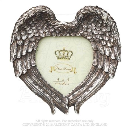 "RBI Picture Frame Angel Wings in Heart Formation Display Cherished One Holds 4"" x 4"" Image Victorian Gothic Romance"