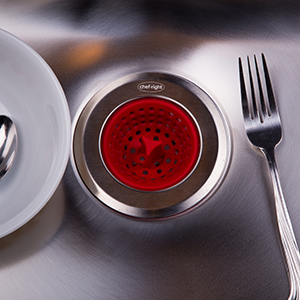 Chef-Right /& Home Magnetic Seal Sink Drain Strainer Red Stainless Steel
