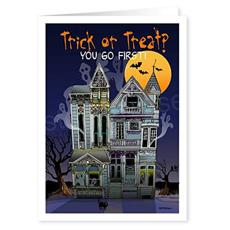 Halloween Thank You (Trick or Treat? You Go First Funny Halloween Card - 18 Cards & Envelopes -)