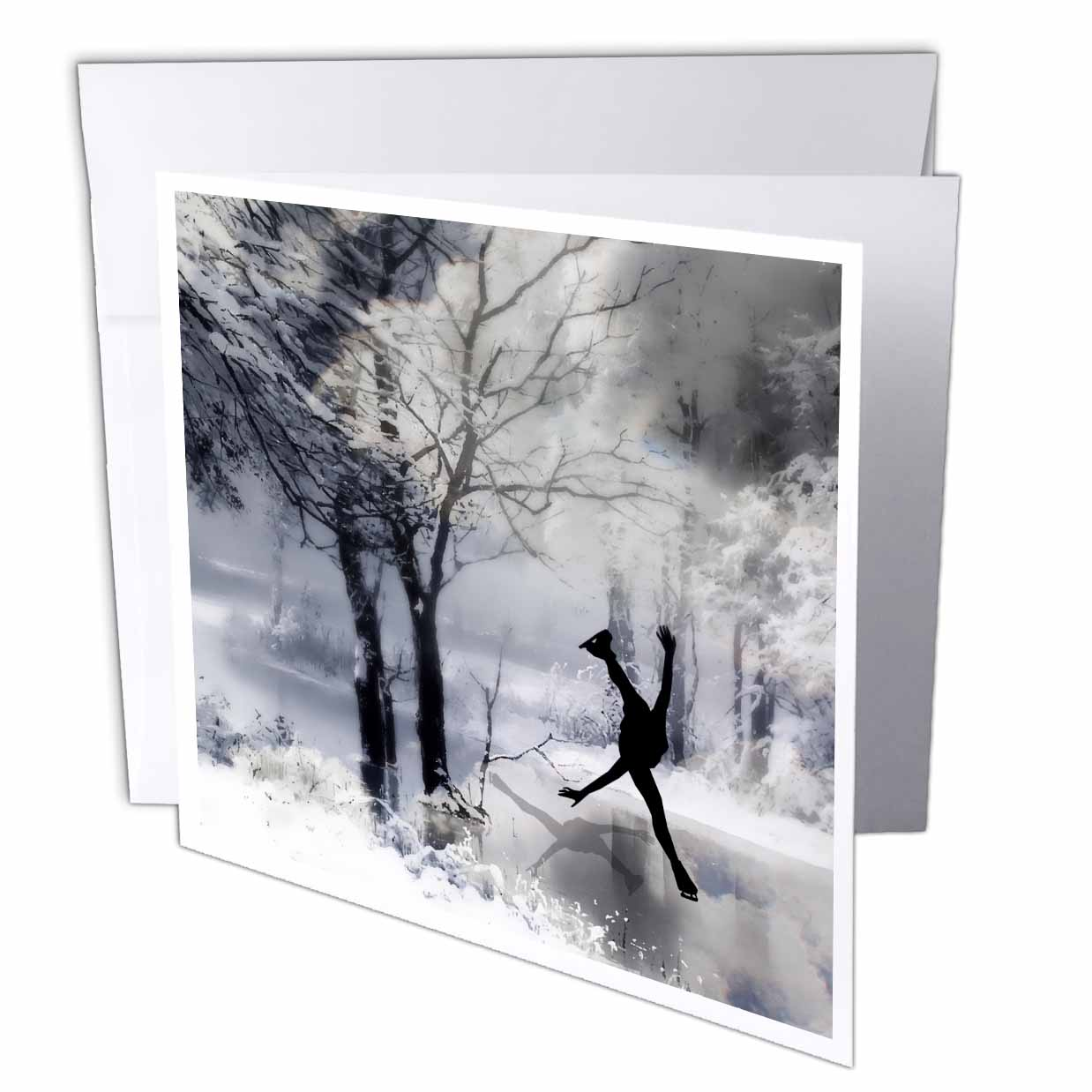 3dRose Figure Skater Silhouette Skating on a frozen pond in a beautiful winter snow scene, Greeting Cards, 6 x 6 inches, set of 6