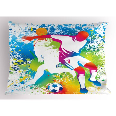Youth Pillow Sham Football Players with a Soccer Ball and Colorful Grunge Splashes Competition Sports, Decorative Standard Size Printed Pillowcase, 26 X 20 Inches, Multicolor, by Ambesonne