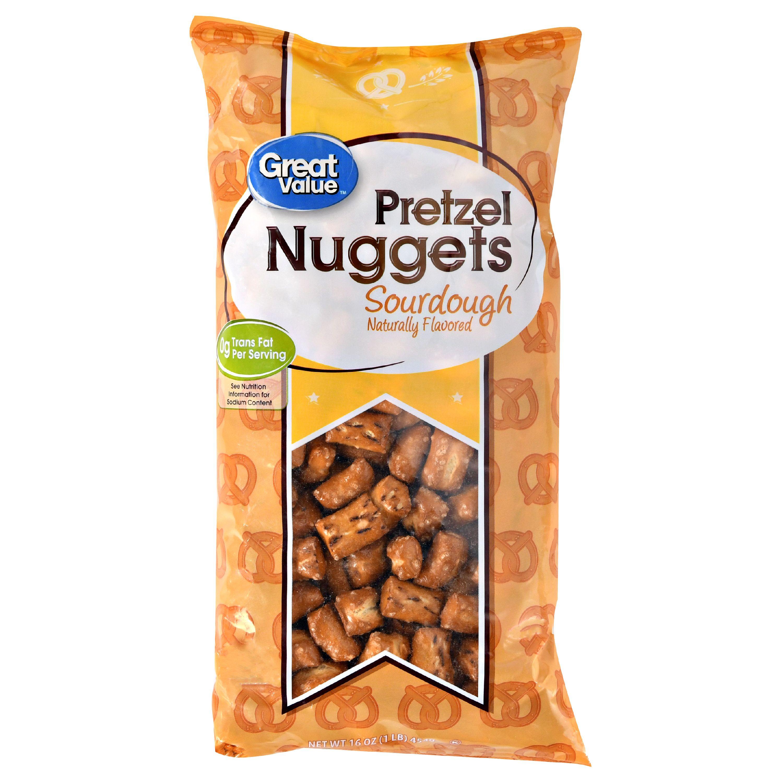 (4 Pack) Great Value Pretzel Nuggets, Sourdough, 16 oz
