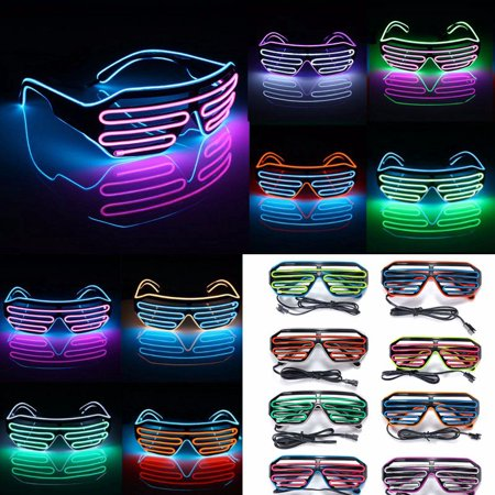 LED Light Up Glasses Women Men's Fashion Colorful El Wire Glasses Neon Shutter Shaped Glow Light Sun Glasses For Rave Costume Party Club Halowwen Festivals 3Modes
