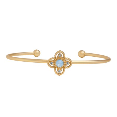 14K Gold Plated Pacific Opal and Light Rose Flower Bangle Bracelet, Made With Swarovski Crystals