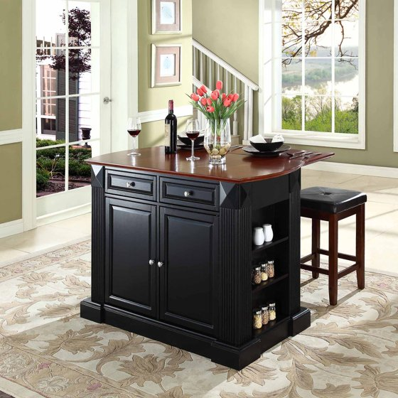 Large Kitchen Islands With Seating For 6: Crosley Furniture Drop Leaf Breakfast Bar Top Kitchen