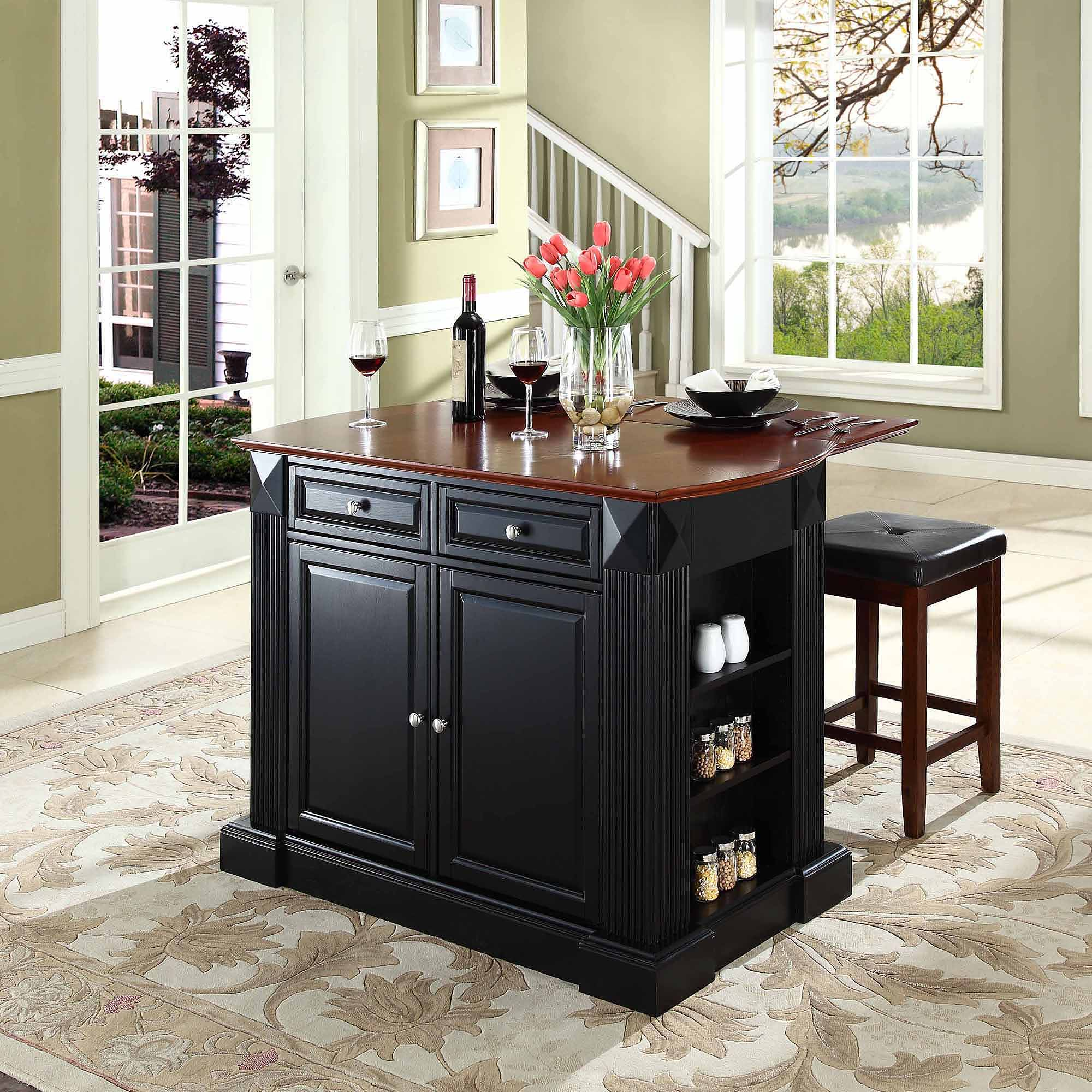 "Crosley Furniture Drop Leaf Breakfast Bar Top Kitchen Island with 24"" Upholstered Square Seat Stools"