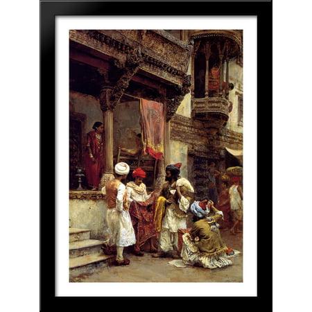 The Silk Merchants 28x40 Large Black Wood Framed Print Art by Edwin Lord Weeks - Large Art Silk