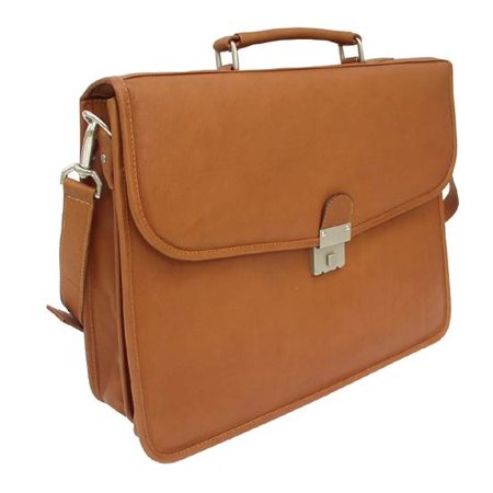 Leather Portfolio w Combination Lock in Saddle