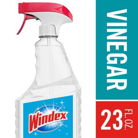 (2 Pack) Windex Glass Cleaner Trigger Bottle, Vinegar, 23 fl oz