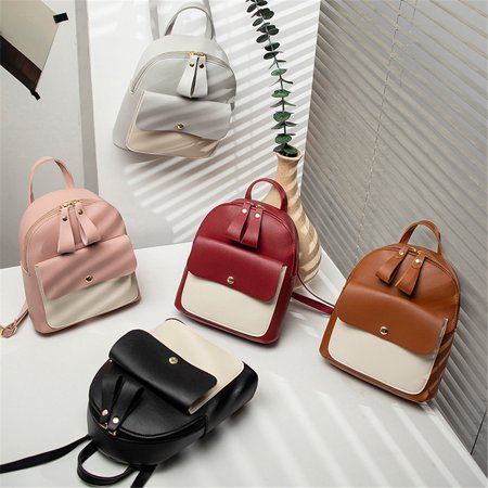 Women Girls Mini Faux Leather Backpack Rucksack School Bag Travel Handbag Red