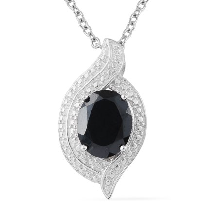Shop LC Delivering Joy Chain Pendant Necklace Oval Black Spinel Stainless Steel Gift Jewelry Size 20