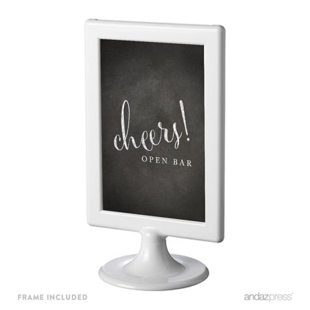 Open Bar Cheers! Framed Vintage Chalkboard Wedding Party Signs](Open Bar Wedding)